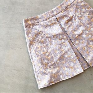 TOPSHOP Metallic Jacquard Floral Embroidered Skirt